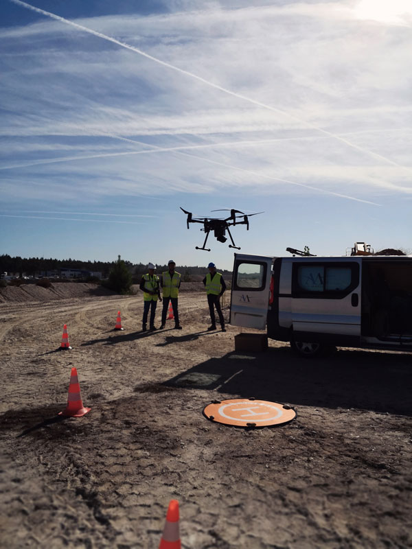 Cubature de stock, vol drone